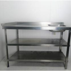 Mesa de trabajo con fregadero 130 de largo